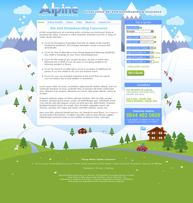 Alpine scene for Alpine travel insurance website