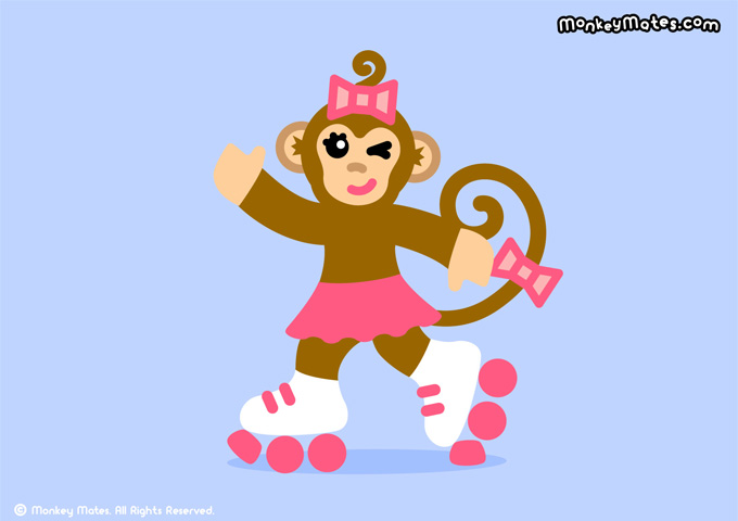 MoMo monkey rollerskating