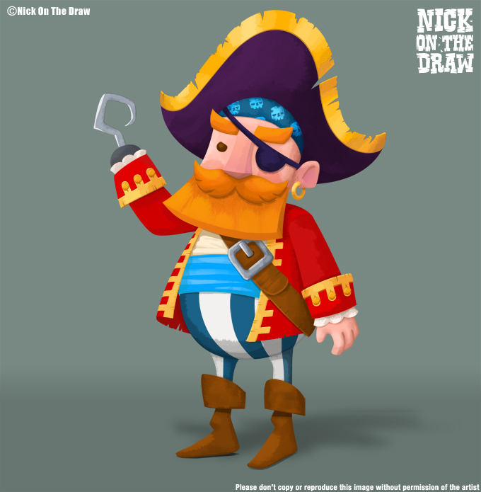 Pirate captain with an eyepatch and hook