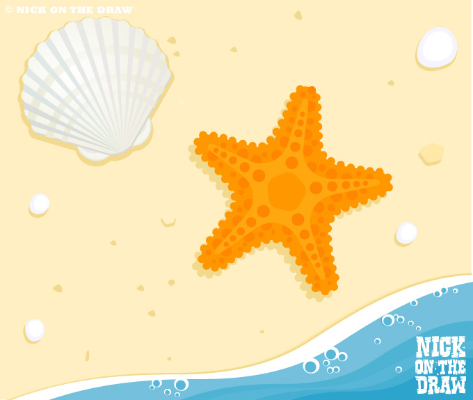 Illustration of a starfish and shell on the beach with the tide coming in