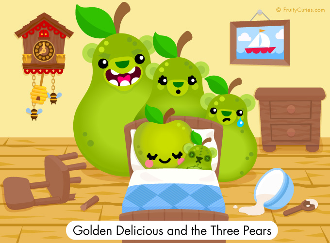 Golden Delicious and the three pears