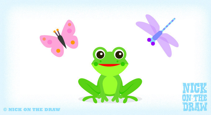 Frog, butterfly and dragonfly illustration