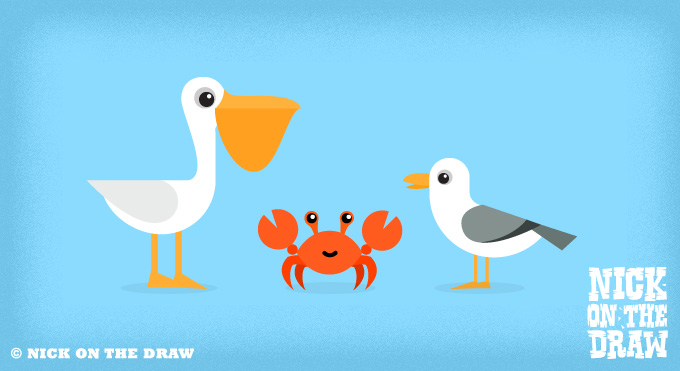 Pelican, crab and seagull illustration